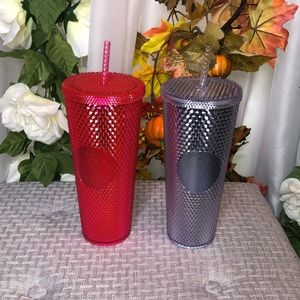 Starbucks Studded Tumbler Set Pink and Silver